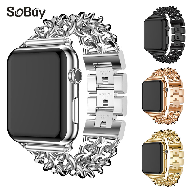 So buy alloy stainless steel strap for apple watch iwatch 1/2/3 series band 42mm 38mm Link bracelet wirst strap metal watchband