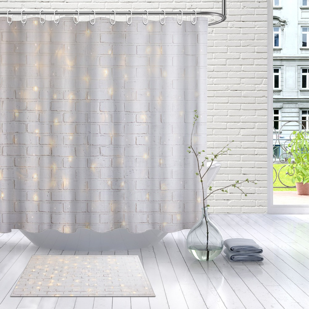 lb white brick wall christmas with shiny light waterproof polyester shower curtain and mat set bathroom fabric for bathtub decor
