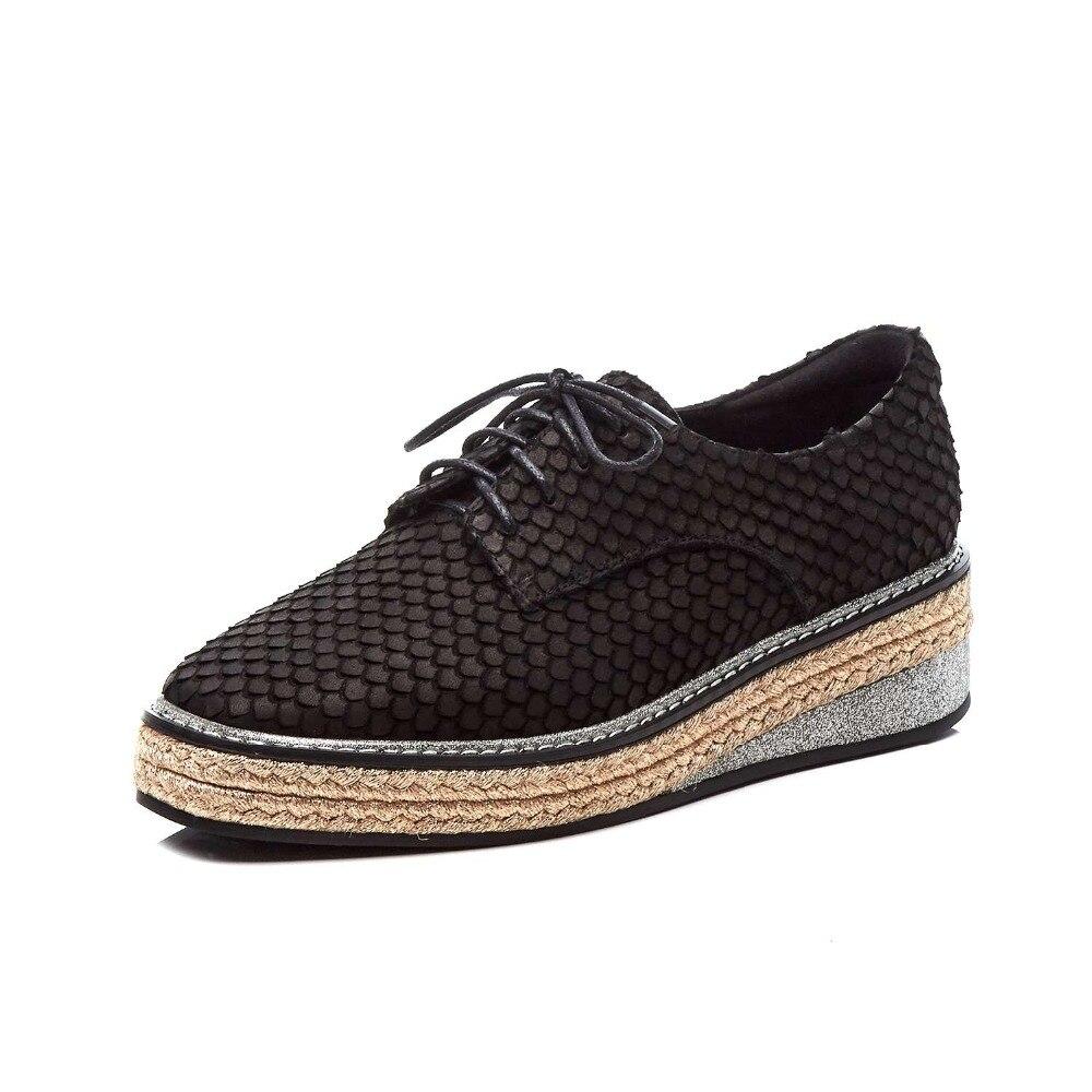 Lenksien concise estilo cunhas plataforma patchwork dedo apontado rendas até mulheres bombas de couro natural do punk namoro casual sapatos L18 - 6