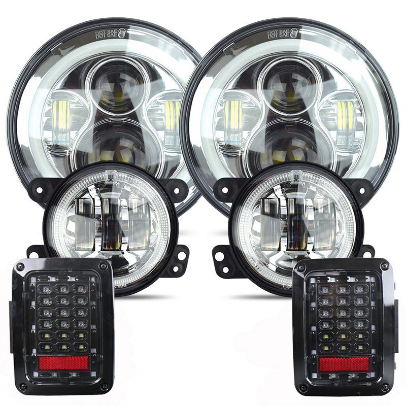 For 97-17 Jeep Wrangler LED Light Assembly 7 High-Low Headlight + 4 Fog Light + Tail Light EU Version Plug & Play Car Lamp Set ...
