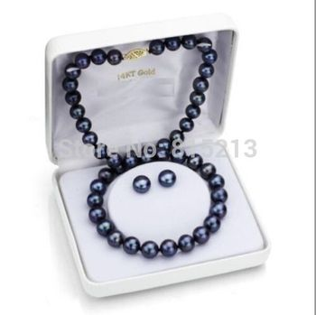 """free shipping ddh00937 HUGE 10-11MM TAHITIAN GENUINE PERFECT BLACK PEARL NECKLACE EARRING 18"""""""
