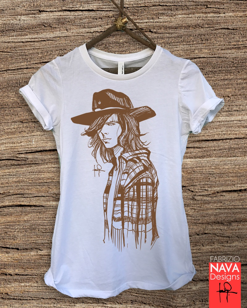 2019 Short Sleeve Cotton Man Clothing Carl Grimes Portrait Sketch The Walking Dead  Graphic Tee T-shirt TWD Funny T Shirt