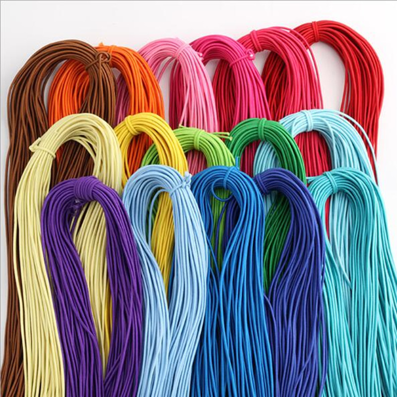 5 Yards <font><b>2mm</b></font> Colorful Round Hair <font><b>Elastic</b></font> Rope High-Quantity <font><b>Elastic</b></font> Rubber Band <font><b>Elastic</b></font> Line DIY Sewing Accessories <font><b>Elastic</b></font> <font><b>Cord</b></font> image