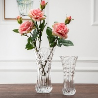 Transparent glass vase small hotel dining table hydroponic flowers decoration flower vase of roses inserted