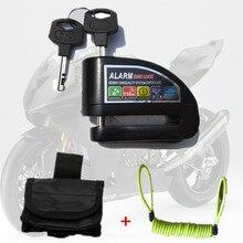 Ücretsiz kargo güvenlik hırsız alarmı kilidi moto rcycles moto bisiklet alarm disk kilidi yüksek puan bas tekerlek alarm kilidi