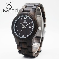 Men's Wooden Watches Black Sandalwood Watch with Ebony Wood Case, Miyota Movement Role Men Relogio