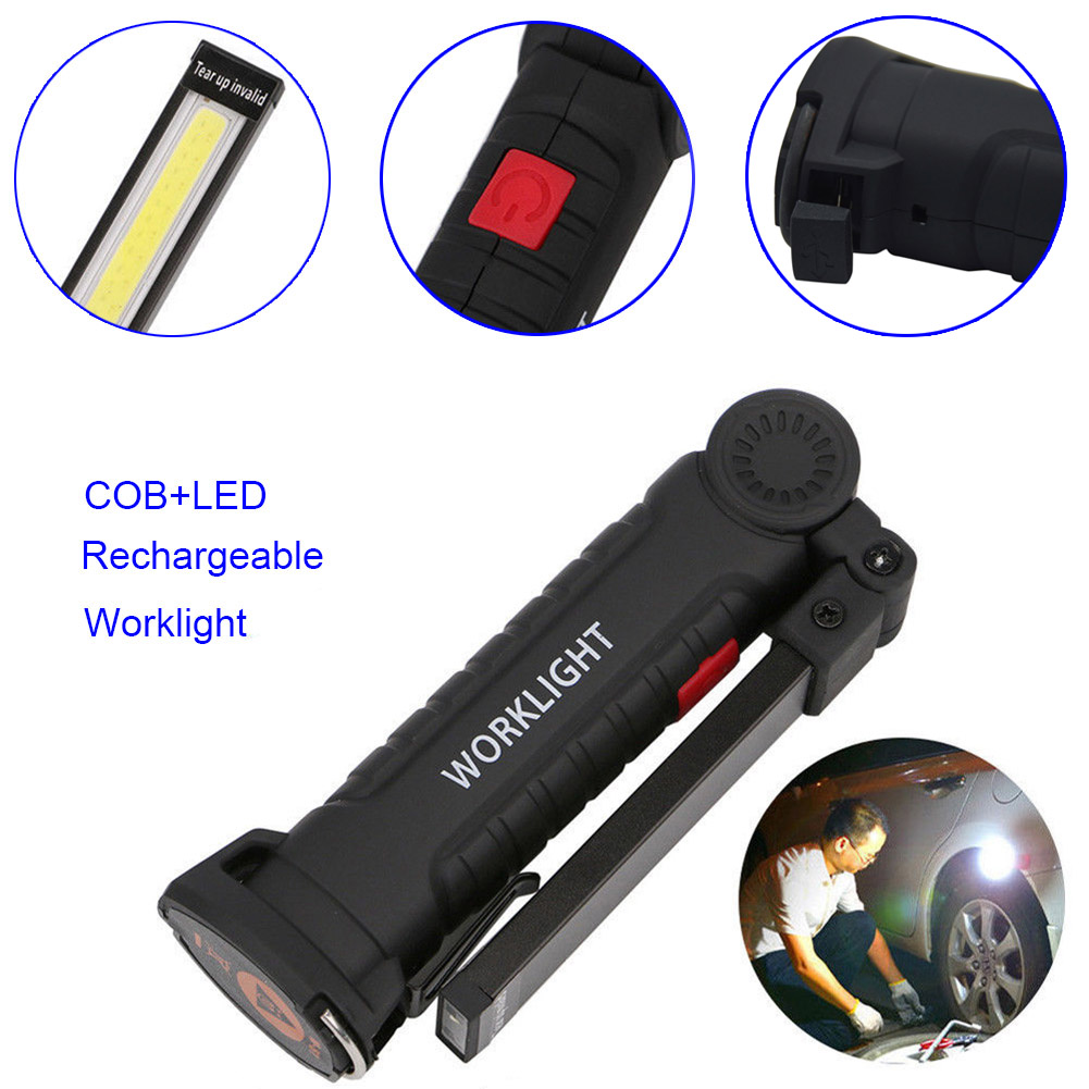Do Promotion! LED Rechargeable Magnetic COB Torch Handheld Inspection Lamp Cordless Worklight Tool 88 657 O66 bosch worklight 0603975801