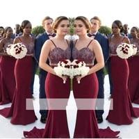 Burgundy 2018 Cheap Bridesmaid Dresses Under 50 Mermaid Spaghetti Straps Lace Beaded Long Wedding Party Dresses