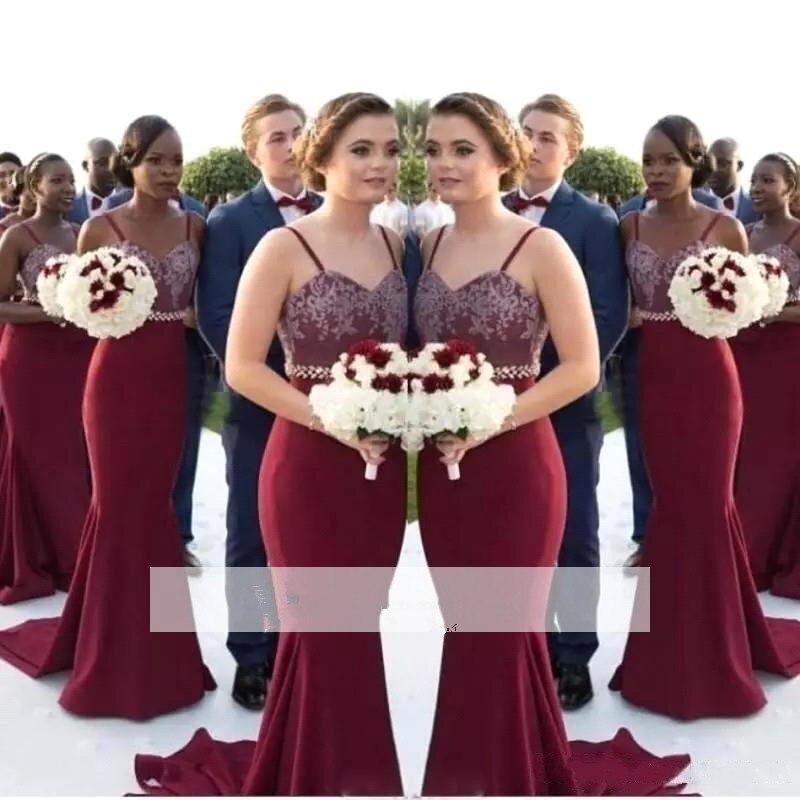 Burgundy 2019 Cheap   Bridesmaid     Dresses   Under 50 Mermaid Spaghetti Straps Lace Beaded Long Wedding Party   Dresses