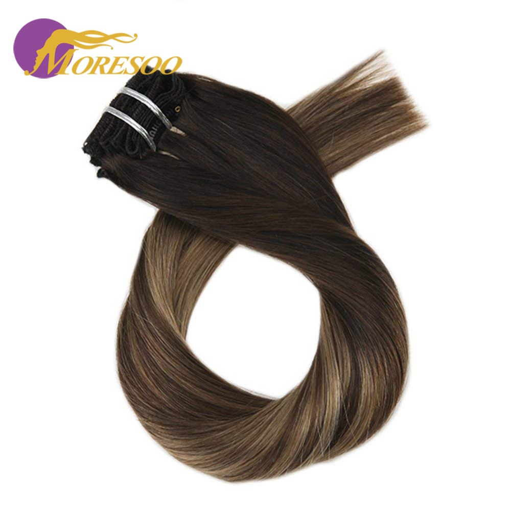 Moresoo 100% Machine Remy Clip In Hair Extensions Balayage Ombre Color Human Hair 7Pcs 100g Full Head Set