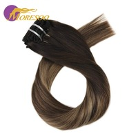 Moresoo 100% Real Remy Clip In Hair Extensions Balayage Ombre Color Human Hair 7Pcs 100g Full Head Set