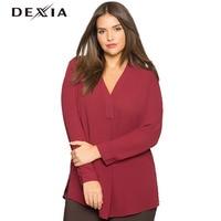 DEXIA Plus Size Kobiet Koszula Jednolity Kolor Czarny Z Czerwonym V-Neck Pełna Rękawem Casual Szyfonu Odzież Moda Kobieta Blusas 2611