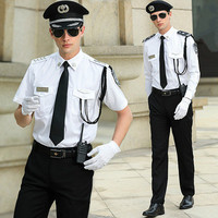 Men's Pilot Costume Halloween Party Shirts Sets White High Quilty Security Uniform Fancy Dress Cosplay Pilot Costumes