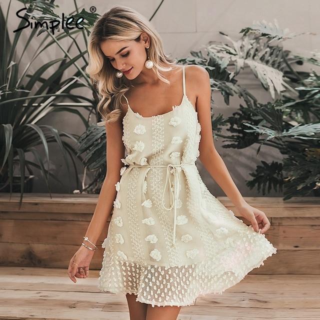 Simplee Elegant flower embroidery short dress Women sexy spaghetti strap summer sundress Female lace up short beach dress 2019 1