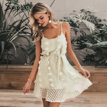 Simplee Elegant flower embroidery short dress Women sexy spaghetti strap summer sundress Female lace up mini beach dress 2019