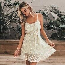 Simplee エレガントな花刺繍ショートドレス女性のセクシーなスパゲッティストラップ夏サンドレス女性レースアップショートビーチドレス 2019