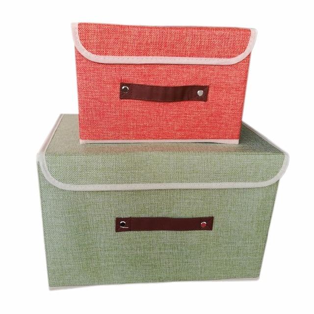 734c98dd370 Tela no tejida plegable caja de almacenamiento de ropa organizador juguetes  ropa interior calcetines libros almacenamiento
