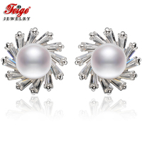 FEIGE High quality 7 8mm White Natural Freshwater Pearls Stud Earring Genuine 925 Sterling Silver Earrings Bride Pearl Jewelry
