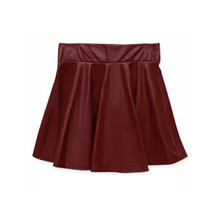 Women Ladies Faux Leather High Waist Skater Flared Pleated Short Mini Skirt Hot