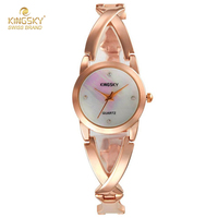 2017 Kingsky Top Brand Luxury Rose Gold Watches For Women Female Clock Alloy Quartz Bracelet Watch