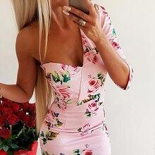Floral print one shoulder dress Women flower half sleeve pink bodycon summer dress 2019 Sexy party vestidos de verano novelty one shoulder half sleeves bodycon criss cross dress for women