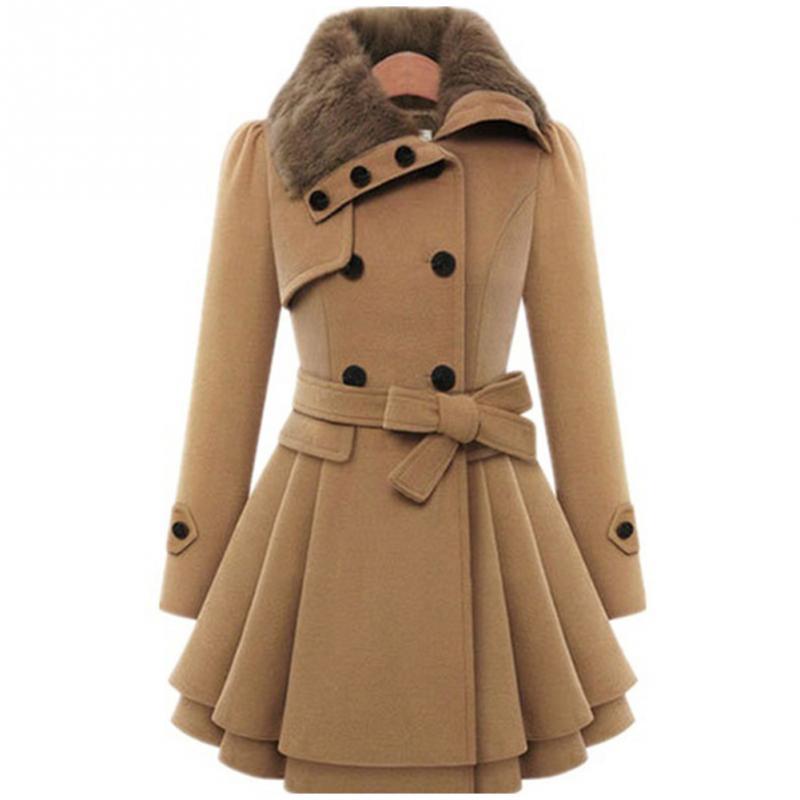 Для женщин Осенне-зимняя обувь длинные рукава воротник с лацканами Сгустите средней длины пальто S-XXXL Бесплатная доставка ...