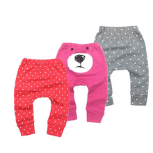 Infantil Toddler Baby Boys Girls Pants 100%Cotton Child Cartoon Animal Embroidery pattern Lovely PP Fox Trousers 6M