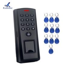 Control de Acceso de huella dactilar independiente con lector de tarjetas RFID de 125KHZ a prueba de polvo Control biométrico de acceso de puerta contraseña del teclado