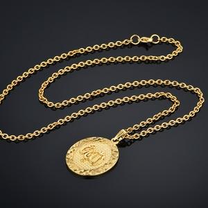 """Image 5 - Colliers avec pendentifs ronds Punk Allah pour hommes et femmes, Vintage religieux, chaîne Figaro couleur or, 19 """", 22"""", vente en gros"""
