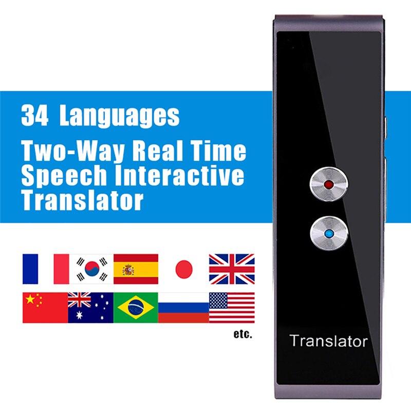 Smart Портативный голос и текст переводчик двусторонней Кнопка Multi-Язык реального времени перевод обучения туризма бизнес встречи