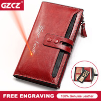 GZCZ Genuine Leather Women Wallet Female Long Clutch Fashion Lady Walet Zipper Hasp Money Bag Card