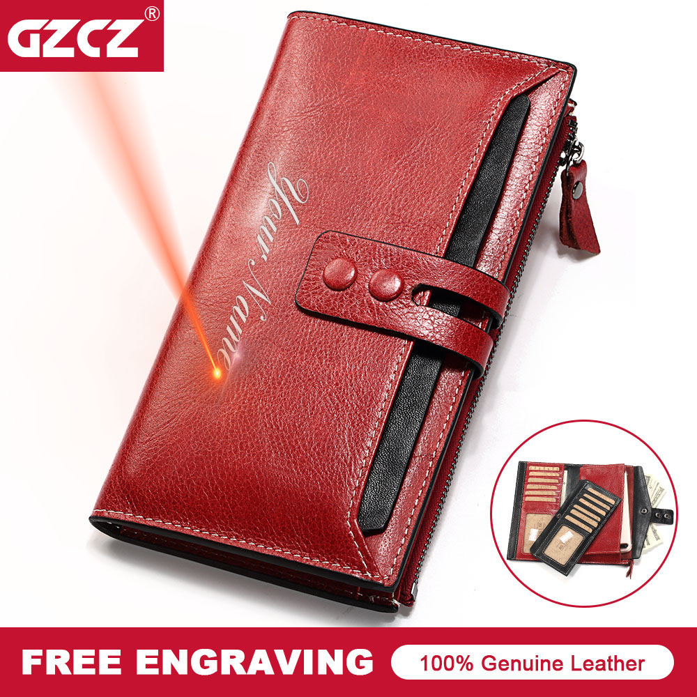 GZCZ Genuine Leather Women Wallet Female Long Clutch Fashion Lady Walet Zipper Hasp Money Bag Card Holder Coin Purse Portomonee