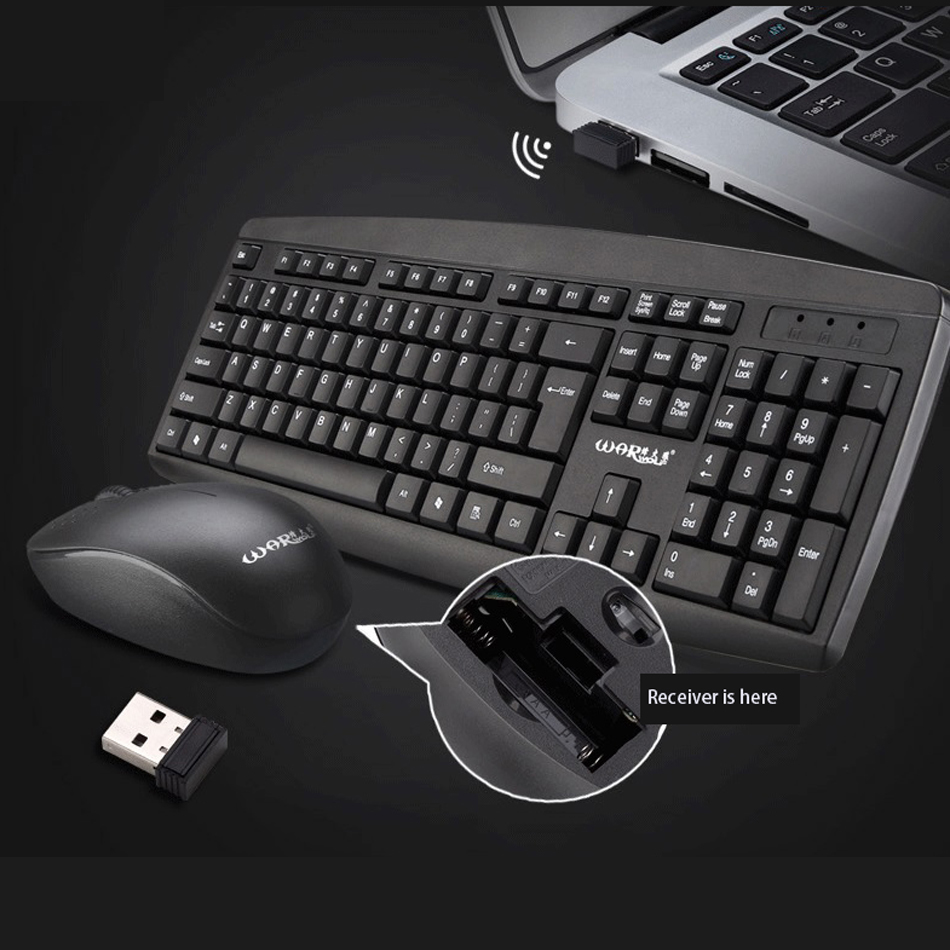 Wireless keyboard and Mouse Combo USB Port 2.4Ghz Keyboard Mouse Set Silent Keyboard for Office PC Computer Desktop getworth s6 office desktop computer free keyboard and mouse intel i5 8500 180g ssd 8g ram 230w psu b360 motherboard win10