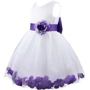 Image 3 - Vestido infantil de pétalos de flores para niña, concurso de belleza boda de novias, tul, vestido Formal de fiesta, vestido de flores para niña, vestido de princesa para niña