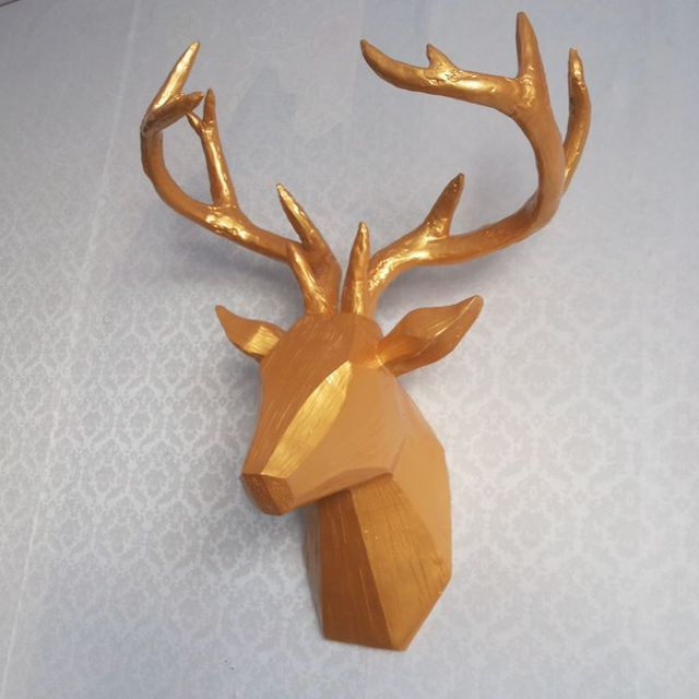 Creative minimalist style statue gold deer head wall hanging resin ...