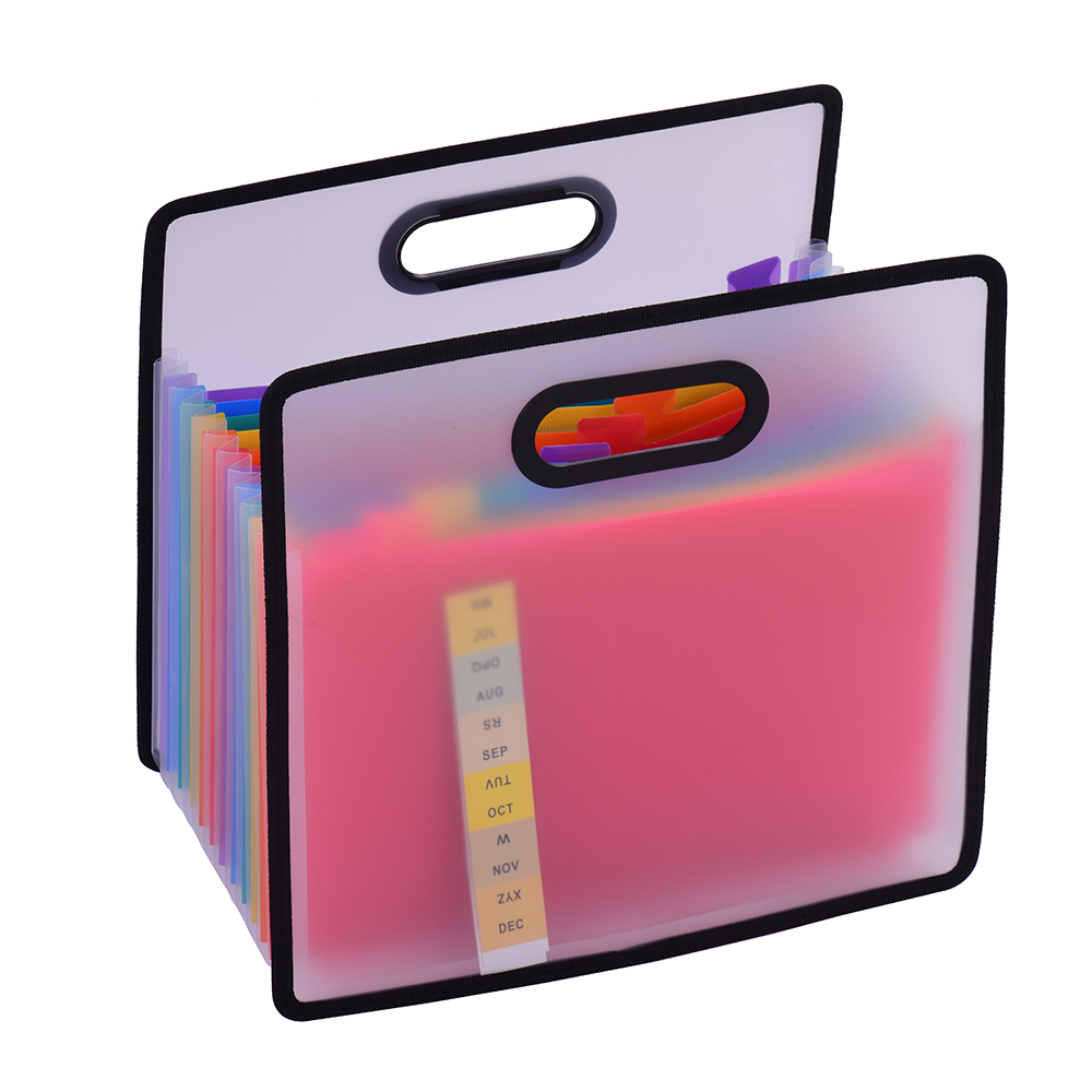 Accordian Expanding File Folder A4 & 12 Pockets Rainbow Coloured Portable Receipt Organizer With File Guide And Label Cards
