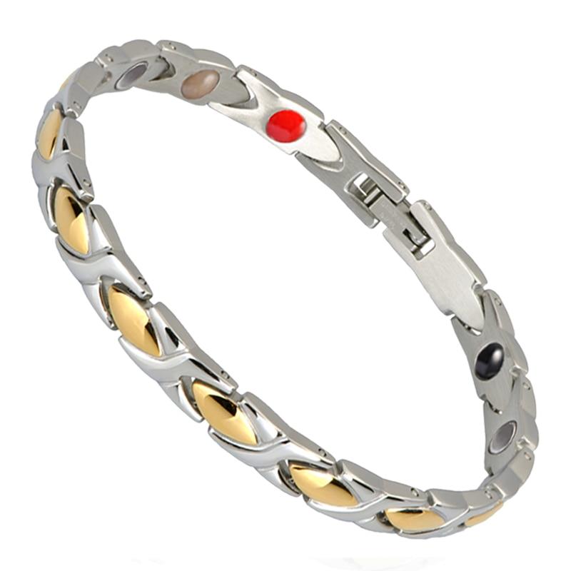 Pequeña rana polvo de germanio energía saludable pulseras y brazaletes 316L Acero inoxidable cadena de enlace pulsera salud joyería