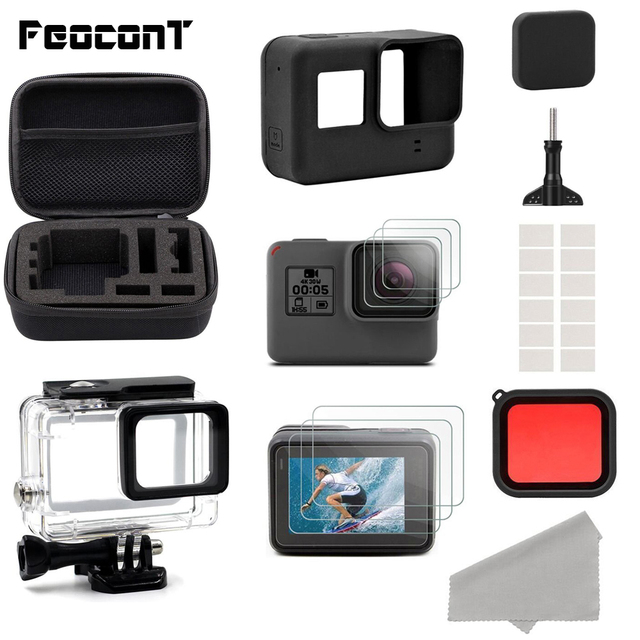 Action Camera Accessories For GoPro Hero 7 6 5 Waterproof Case Travel Screen Protector Lens Filter Silicone Protective Case Bag