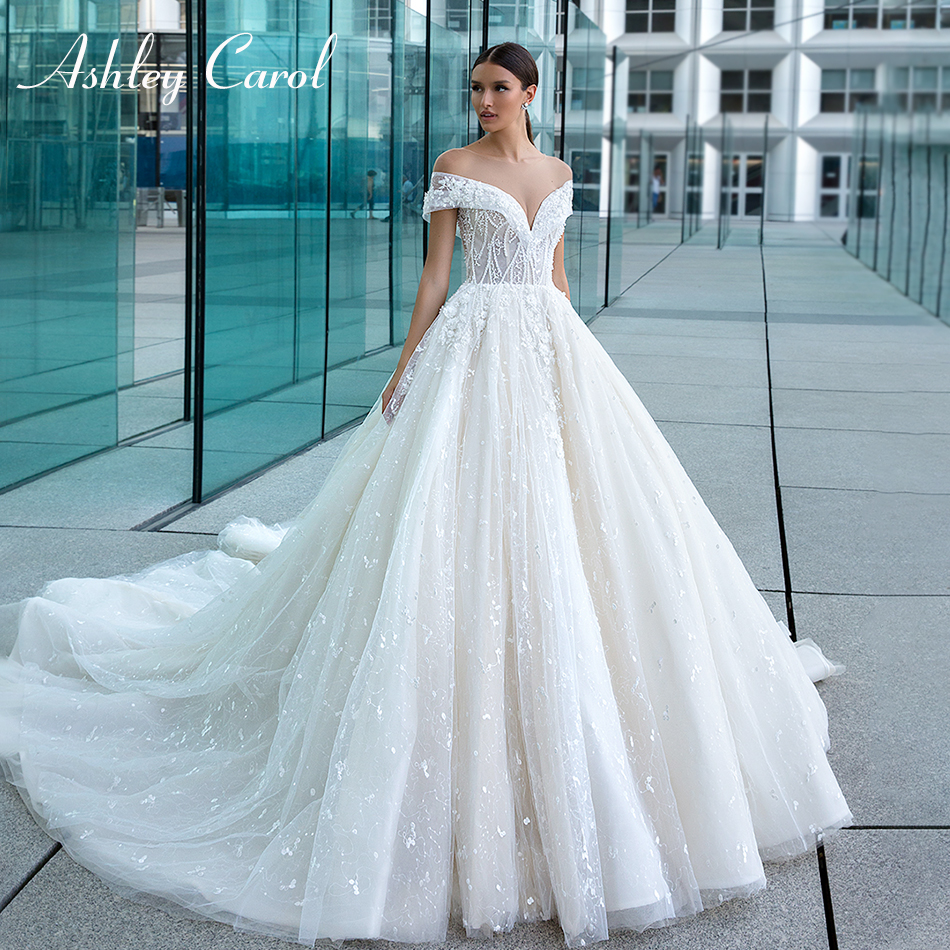 Ashley Carol Lace A-Line Wedding Dresses 2020 Vestido De Noiva Sexy Sweetheart Beaded 3D Flowers Princess Backless Bride Gowns