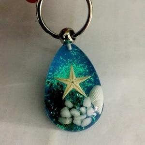 Novelty New Fashion Luminous Shell Starfish Charm Keychain For Women Blue Seaworld Crystal Key Chains Men Trinket Jewelry Gift(China)