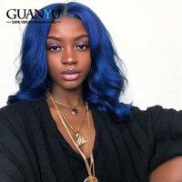 Guanyuhair предварительно сорвал синий бразильский тело волна 3 пучки волос с фронтальной закрытие 13X4 уха до уха синий Реми натуральные волосы т