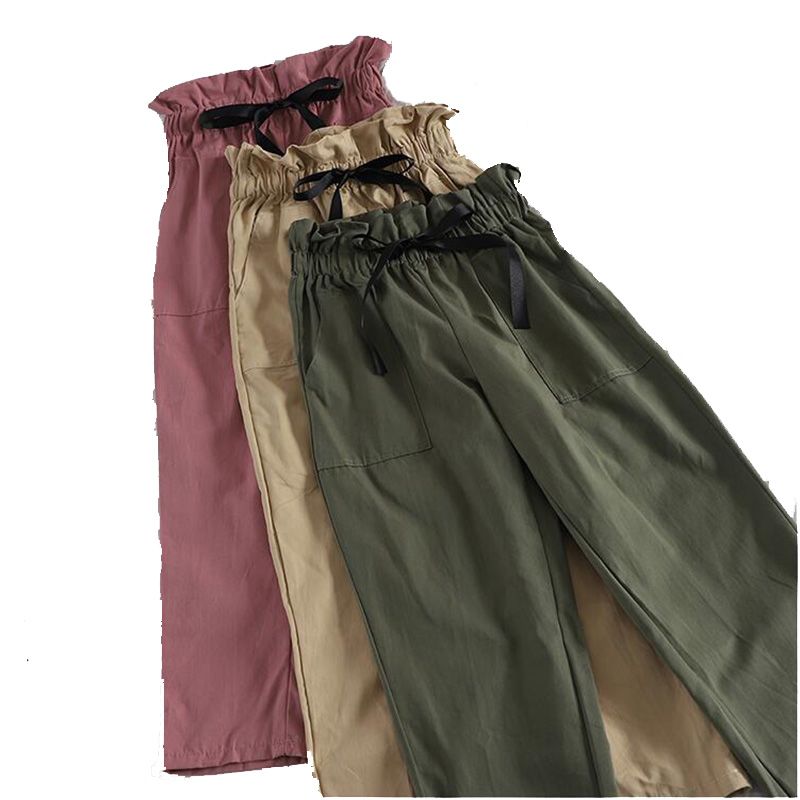 Ankle-Length harem   pants   Summer Chic Style Regular Ankle Length   Wide     Leg     Pants   Solid Trousers Spring High Waist   Pants