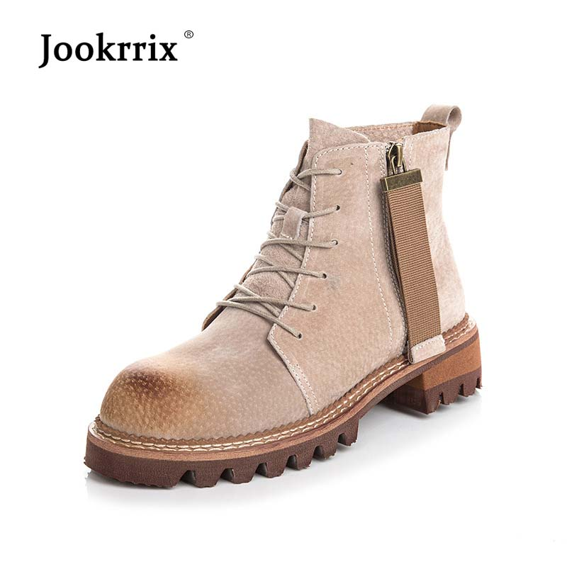 Jookrrix Casual Shoes Women Fashion Brand Martin Boots Real Leather Lady chaussure Cross-tied Female footware 2018 Ankle Boots 2018 brand design shoes women mixed color chain cross tied women martin boots zip leather ankle botas femeninas casual shoes