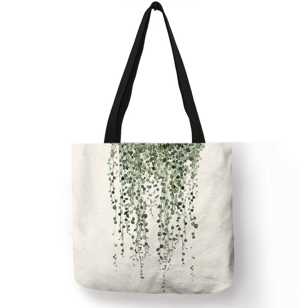 Watercolor Pteridophyte Print Reusable Shopping Bag Banana Tree Tote Bag For Women Fabric Handbags Traveling Beach Bags