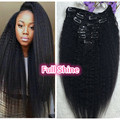 Полный Блеск 100 Реальные Человеческие Волосы Kinky Прямая Клип в человеческих Волос Натуральный Цвет Волос Клип модули Для Американское женщина