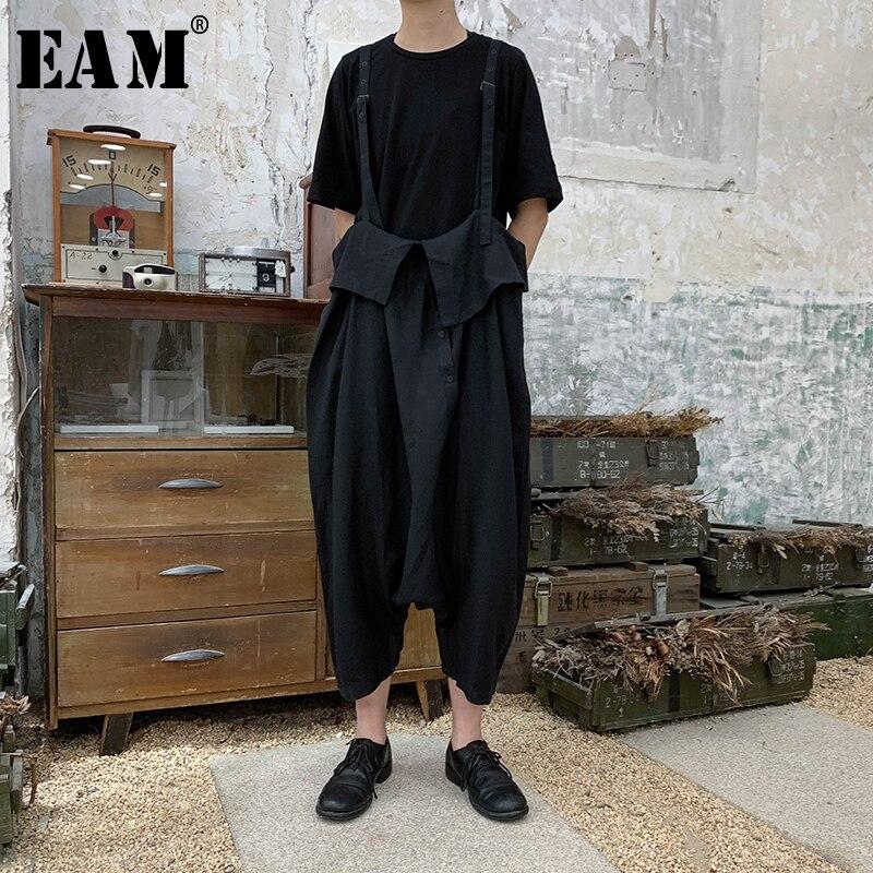 [EAM] 2019 New Spring Summer High Elastic Waist Black   Wide     Leg   Button Loose   Pants   Women Trousers Overalls Fashion Tide JU500