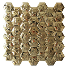 Homey Mosaic Wholesale 3D Modern 304 Stainless Steel Gold Hexagon Waterproof Wall Sticker New Design Mural 12Inch