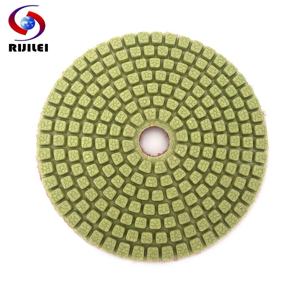 RIJILEI 10PCS/Set 4inch Diamond Polishing Pads Flower point Wet polishing pad for Marble Abrasive Free shipping HC13