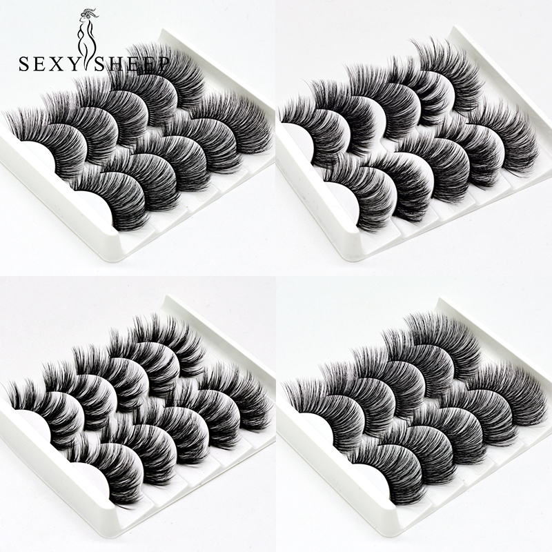 Image 2 - SEXYSHEEP 5Pairs 3D Faux Mink eyelashes False Eyelashes Long Lashes Wispy Makeup Beauty Extension Tools Wimpers 13 Styles-in False Eyelashes from Beauty & Health