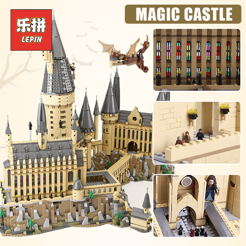 Lepin 16060 Harry Movie Potter Hogwarts castle Magic Model Set Building Blocks Bricks Compatible 71043 DIY Children Toys Gift creators building blocks dragon knight set compatible legoinglys harry potte castle magic architecture toys for children
